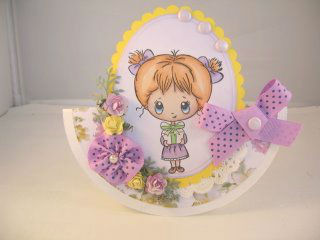 Открытка с бантиками и цветами для девочки