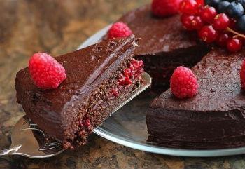торт без муки с малиной