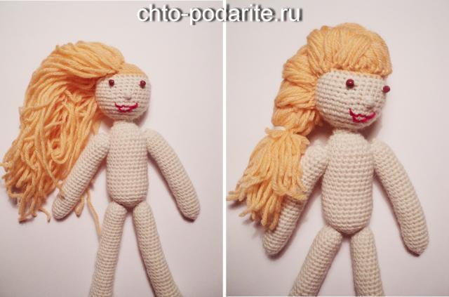 Делаем волосы вязаной кукле