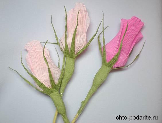 Делаем чашелистики и стебель бутона розы