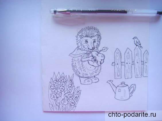Обводим контуры рисунков гелевой ручкой