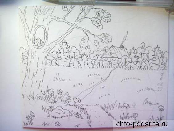 Рисуем на заготовке пейзаж