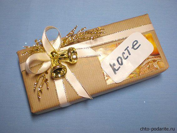 Простая упаковка для подарка на Новый год