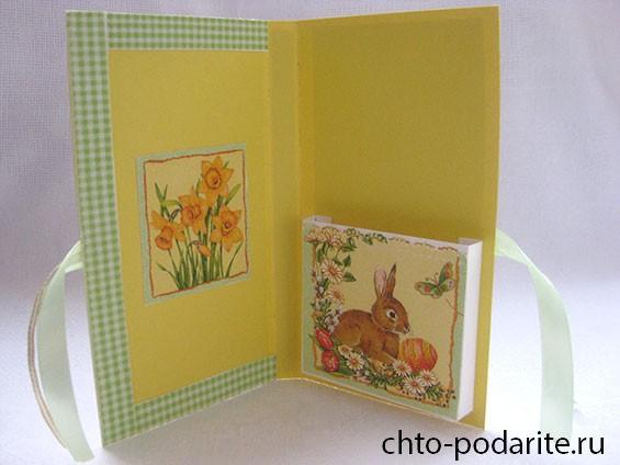 Пасхальная открытка-шоколадница