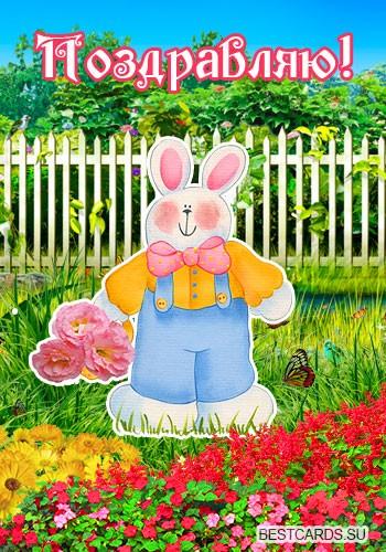 """Виртуальная открытка для форума """"Поздравляю!"""" с зайчиком и цветами"""