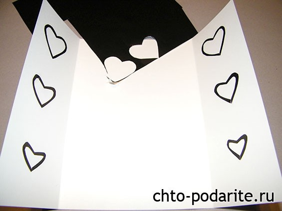Заготовка для свадебной открытки с сердечками