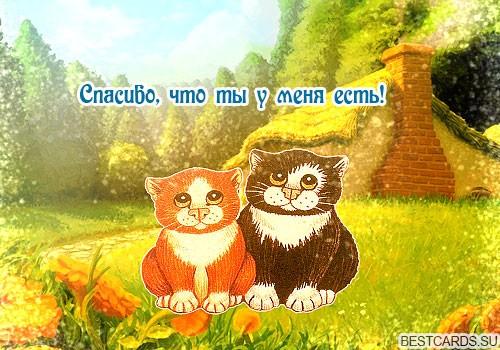 """Виртуальная открытка для форума """"Спасибо, что ты у меня есть!"""" с котами"""