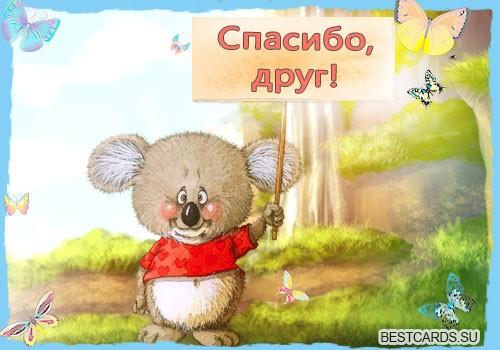 """Виртуальная открытка для форума """"Спасибо, друг!"""" со зверушкой и бабочками"""