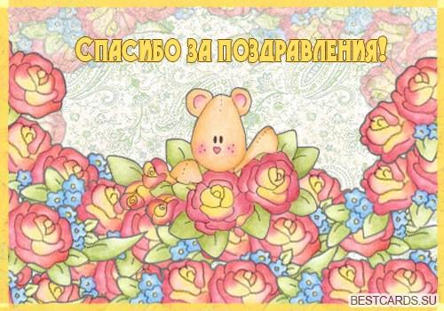 """Виртуальная открытка для форума """"Спасибо за поздравления!"""" со зверушкой и цветами"""