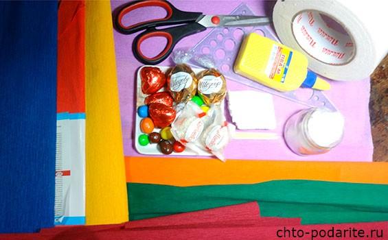 материалы для изготовления цветочно-конфетной фантазии