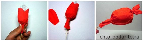 Обмотаем этим прямоугольником конфету с двух сторон и зафиксируем при помощи нити