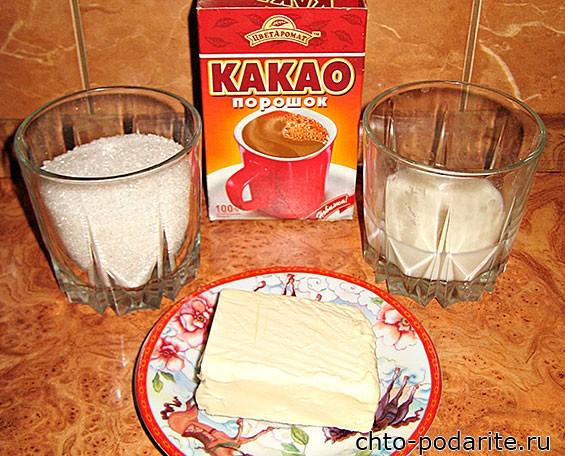 Ингредиенты для приготовления шоколадной глазури