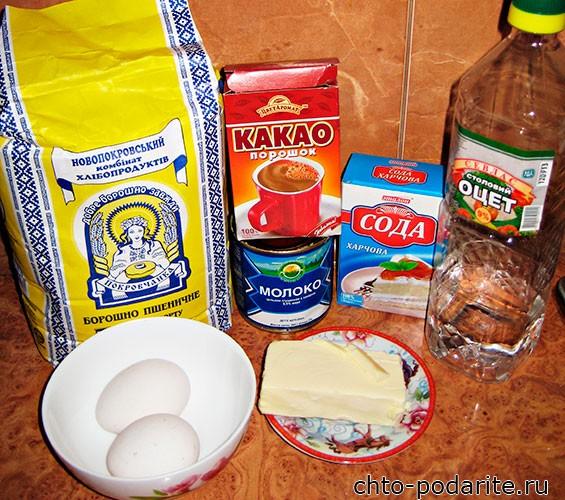 Ингредиенты для теста торта Сметанник