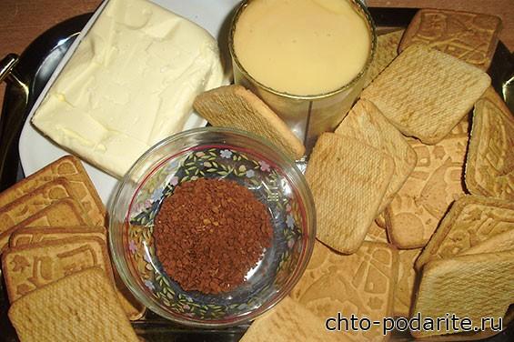 Ингредиенты для торта из печенья с кофе