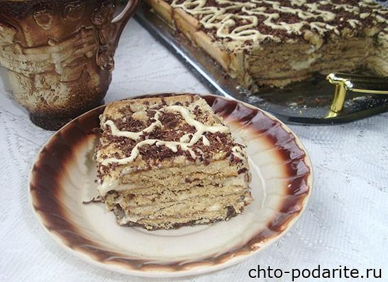 Кофейный торт из печенья без выпечки