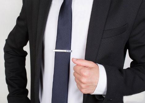 """Зажим для галстука """"Блеск"""" с камнями"""