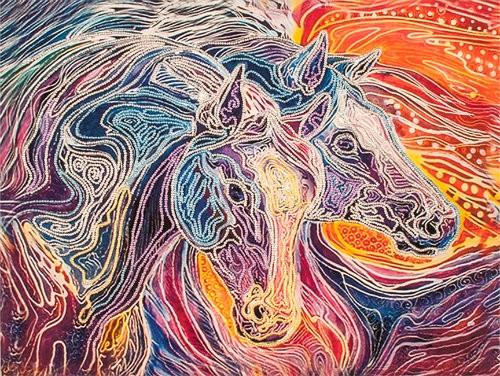 Картина из бисера лошади
