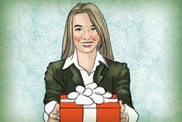 Девушка с подарком коллегам, сотрудникам на 23 февраля