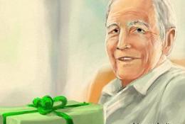 Дедушка с подарком на 23 февраля