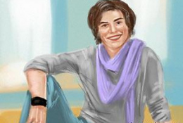 Парень с фиолетовым шарфом