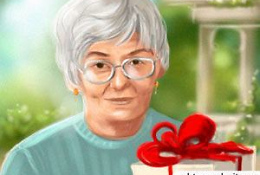 Бабушка с подарком на День Рождения