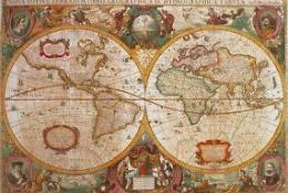 Пазл старинная карта мира