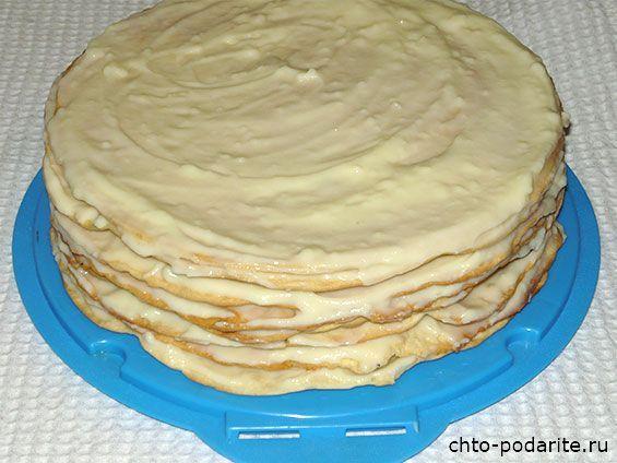 Торт Наполеон с заварным кремом, пошаговый рецепт с фото