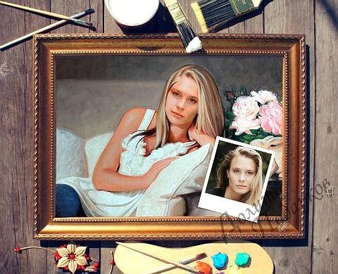 портрет по фото девушка на диване