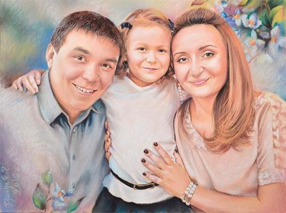 портрет по фотографии семейный