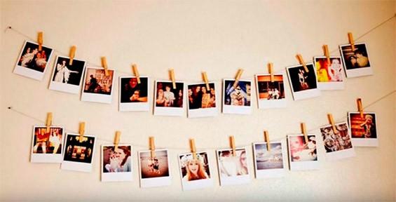 фото на стене на веревочках