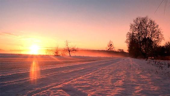 восход солнца зимой