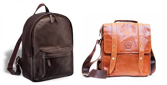 Кожаный рюкзак и сумка