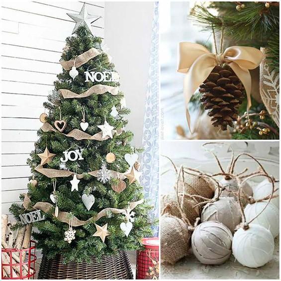Светлые и натуральные оттенки и материалы в новогоднем декоре