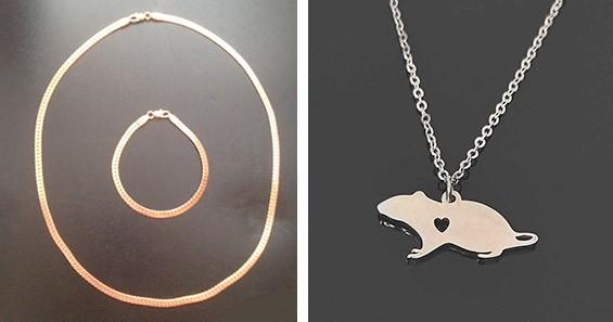 Простая цепочка с браслетом и кулон в форме крысы