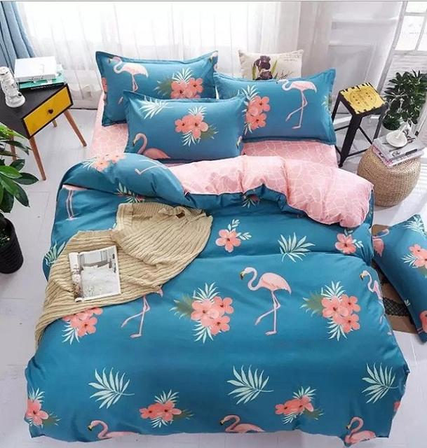 постельное бельё с фламинго