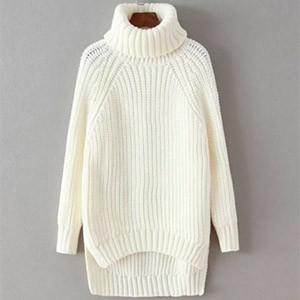 Однотонный теплый шерстяной свитер
