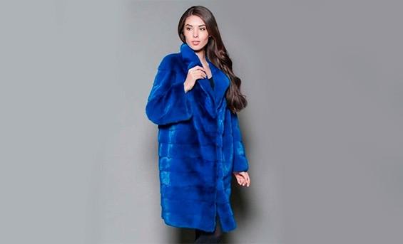 норковая шуба синего цвета