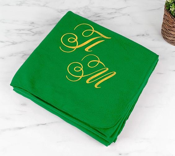 плед с инициалами зеленый