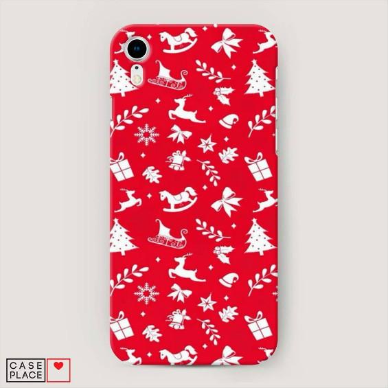 Красный чехол: новогодний подарочный фон