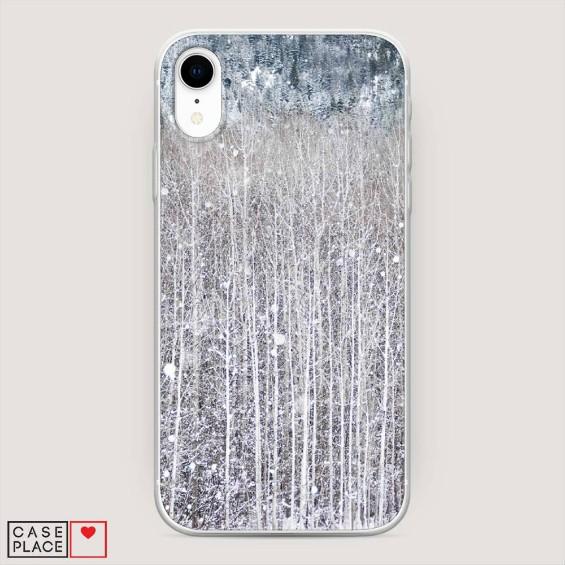 Новогодний чехол для iPhone XR Снежный пейзаж
